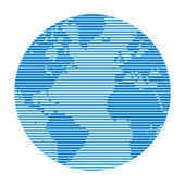 Globe made up of horizontal lines of varying thickness The effect of television and computer screen Abstract world map Globe vector design for presentation booklet website etc Design element