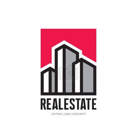Illustration for Real Estate - vector logo concept design. Modern buildings vector illustration. Vector logo template. Design element. - Royalty Free Image
