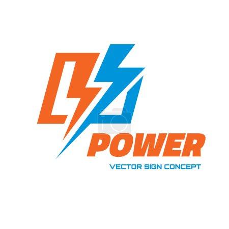 Power - vector logo concept illustration. Lightning logo. Electricity logo. Vector logo template. Design element.