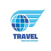 Travel - vector logo concept illustration Globe with wings logo Vector logo template Design element