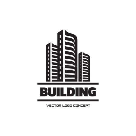 Building - vector logo concept illustration. Real estate logo. Cityscape graphic illustration. Vector logo template. Design element.