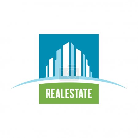 Illustration for Real estate logo concept illustration. Building logo. Cityscape logo. Abstract vector logo of buildings. Skyscrapers logo. Vector logo template. Design element. - Royalty Free Image
