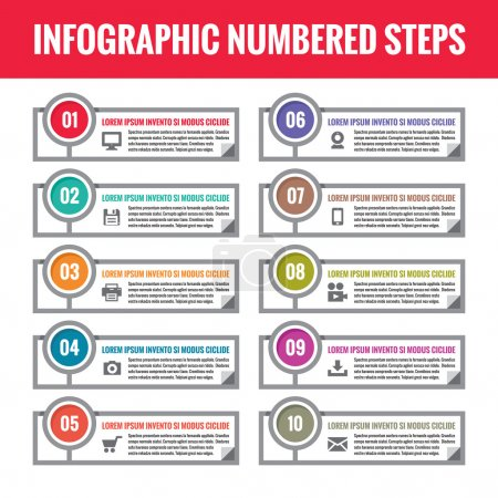Infographic numbered steps. Infographic vector concept. Infographic vector template. Business infographic numbered blocks with technological icons for business presentation. Numbered banners.