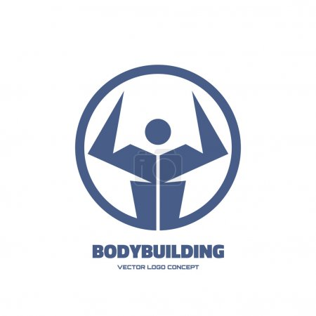Body-building - vector creative logo sign for different design works. Vector logo template. Human logo. Human icon. Human character illustration. Athletic logo. Design element.