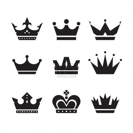 Illustration pour Ensemble d'icônes vectorielles Couronne. Couronne signe collection. Couronnes silhouettes noires. Éléments de conception . - image libre de droit