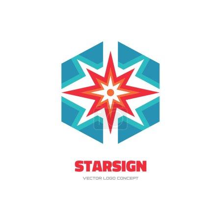 Illustration pour Signe d'étoile - illustration de concept de logo vectoriel. Logo Spark. Logo Sun. Logo de forme abstraite. Modèle de logo vectoriel. Élément de conception . - image libre de droit