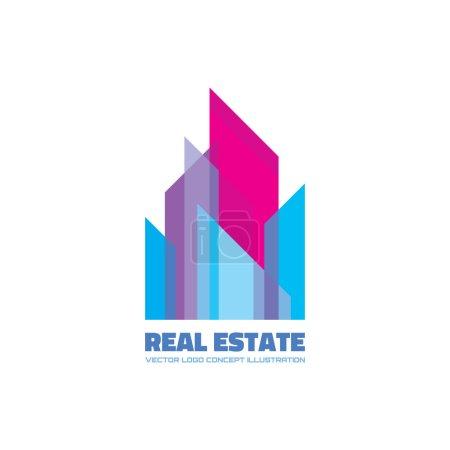 Real estate logo concept illustration. Building logo. Cityscape logo. Abstract vector logo of buildings. Skyscrapers logo. Vector logo template. Design element.