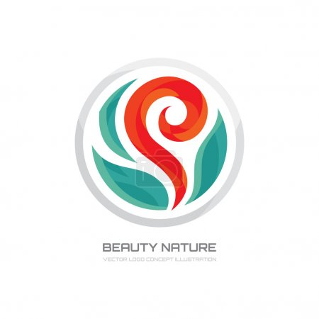 Illustration for Beauty nature - vector logo creative illustration. Flower logo. Sprout logo. Nature logo. Beauty salon logo. Flower with leaves vector illustration. Vector logo template. - Royalty Free Image