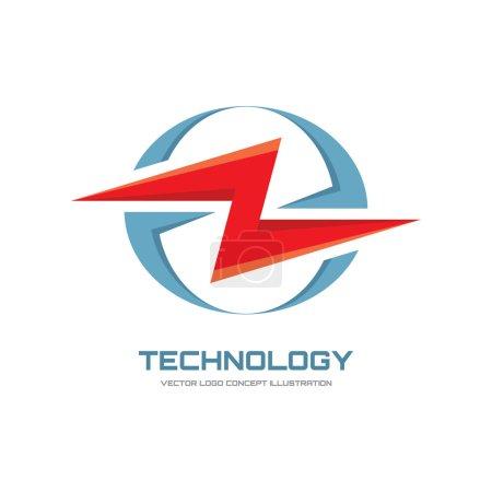 Illustration pour Technologie électronique - illustration de concept de logo vectoriel. Logo Lightning. Logo électricité. Modèle de logo vectoriel . - image libre de droit