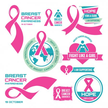 Illustration for 19 October - International Day of Breast Cancer - creative vector badges set. Breast cancer awareness. Hope for a cure. I am supporting. Pink ribbon sign. Vector badges collection. Design elements. - Royalty Free Image