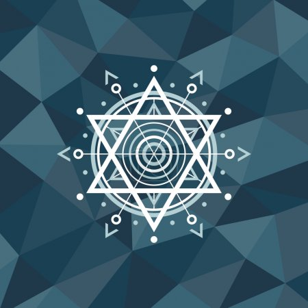 Sacred geometry sign on polygonal abstract background. Abstract vector pattern. Design element.