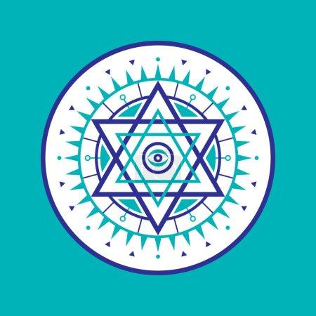Sacred geometry sign. Abstract vector pattern. Mystic vector badge. Hexagon logo. Design element.
