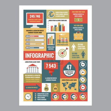 Business infographic - mosaic poster with icons in flat design style. Vector icons set. Business flat illustrations and infographics. Business infographic template. Infographics design elements.