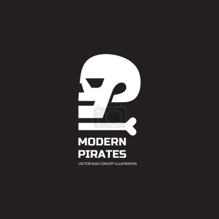 Modern pirates - vector logo concept illustration. Skull vector logo. Death logo. Dead sign. Skeleton sign. Human skull in profile - vector concept sign. Halloween sign. Jolly Roger modern sign.
