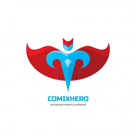 Comix hero - vector logo concept in flat style design. People character. Hero logo. Super logo. Flying man. Human logo. Human icon. Human character illustration. Design element.
