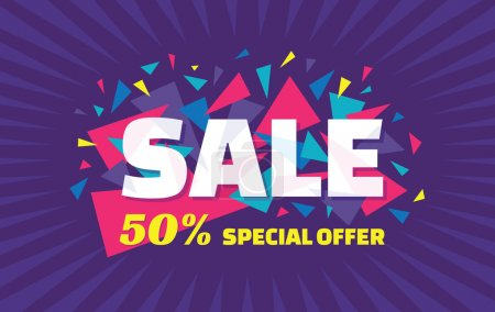 Concept vector banner - special offer - 50% sale. Sale banner with abstract triangle elements. Sale abstract background. Super big sale creative layout. Sale horizontal geometric banner template.