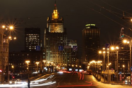 Photo for February Moscow night view of the Borodinsky bridge and Ministry of foreign Affairs at night - Royalty Free Image