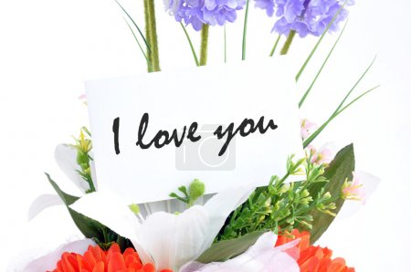 "Flower bouquet with "" I love you"" on  tag card"