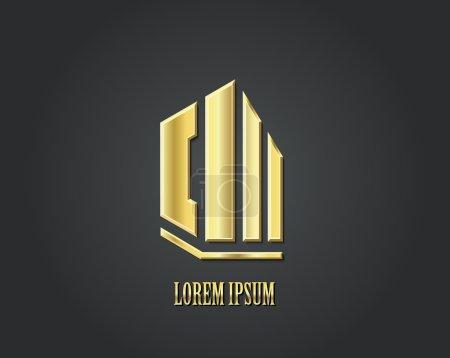 Illustration for Creative vector logo design template. Golden symbol. Real estate - Royalty Free Image