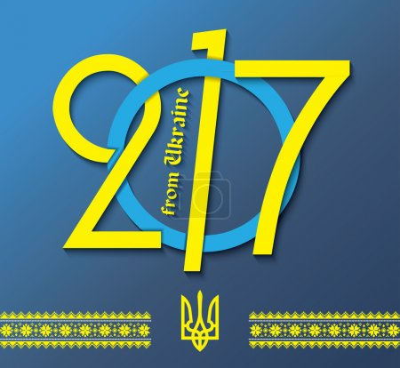 2017 greeting card design with Ukraine National Emblem and natio