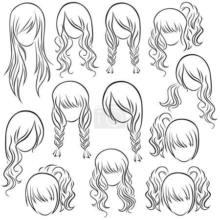 Illustration pour Ensemble de coiffures adolescentes, dessin à la main contour vectoriel - image libre de droit