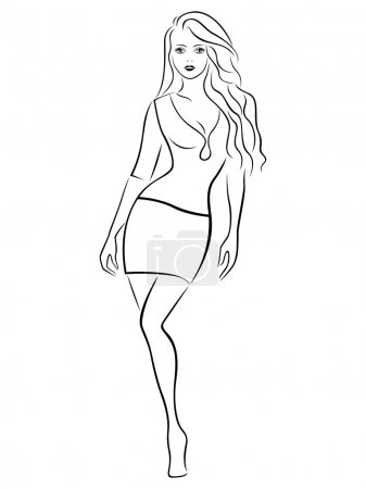 Beautiful graceful girl in a short skirt, black ov...