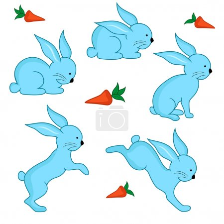 Set of five blue Easter rabbits