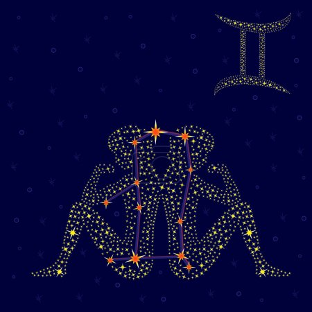 Zodiac sign Gemini over starry sky