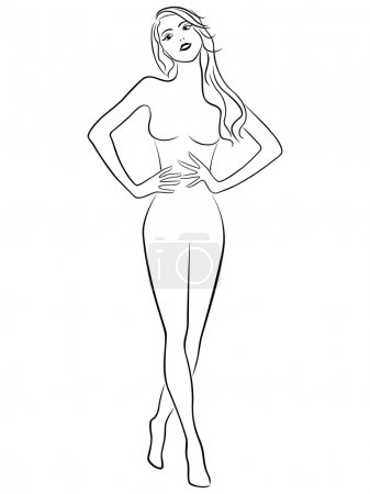 Slim girl holding hands on waistline