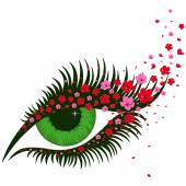 Female green eye with small pink flowers of sakura hand drawing vector illustration