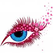 Female blue eye with small pink flowers of sakura hand drawing vector illustration