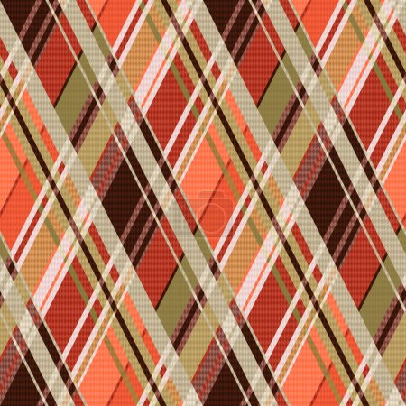 Rhombic tartan seamless texture mainly in brown hues