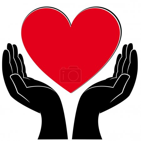Illustration for Human hands holding a heart, medical and volunteering conceptual vector illustration - Royalty Free Image