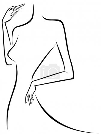 Abstract slim female outline, hand drawing vector ...