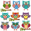 Постер, плакат: Set of nine ornamental owls