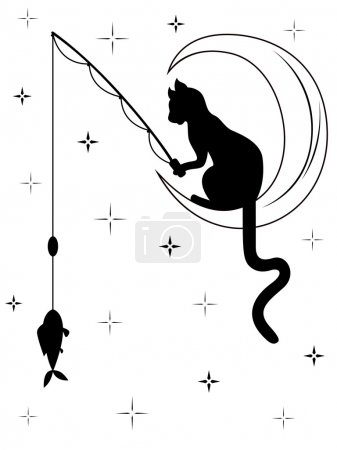 Black cat sitting on the moon and catches a fish