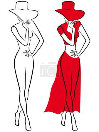 Illustration pour Séduisante Dame rouge avec chapeau à large bord et en robe longue rouge, dessinant le contour vector dans deux emplois - image libre de droit