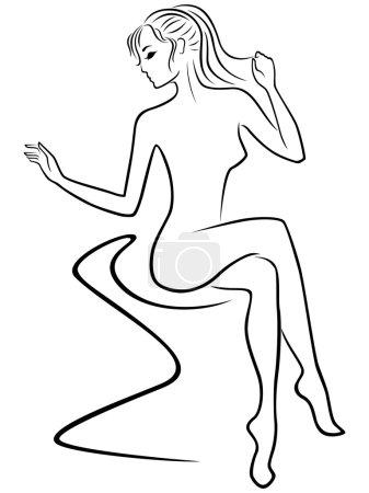 Graceful woman sitting on sofa