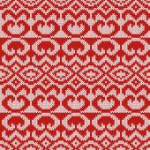 Abstract Ornamental Seamless Vector Pattern as a stylish Fabric Knitted ethnic texture in red and light grey colors