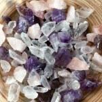 Colorful semi precious quartz stones, top view...