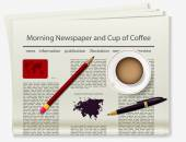 World map Newspaper Realistic image of the object Vector illustration