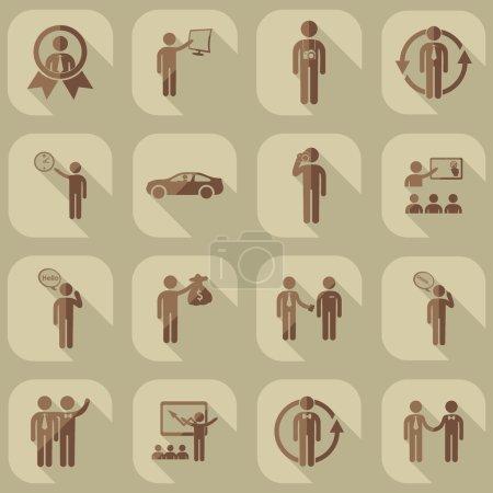 Illustration pour Assemblée de personnes silhouettes bâton figure - image libre de droit
