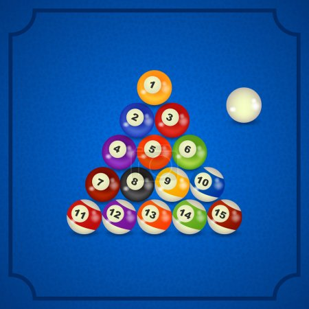 Illustration for Set of billiard balls in pyramid on table - Royalty Free Image