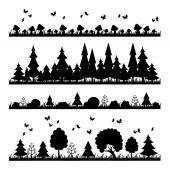 Composition black forest on a white background flat style trees