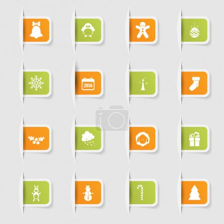 Ilustración de Conjunto, una colección de papel único pegatinas los iconos nuevo año - Imagen libre de derechos