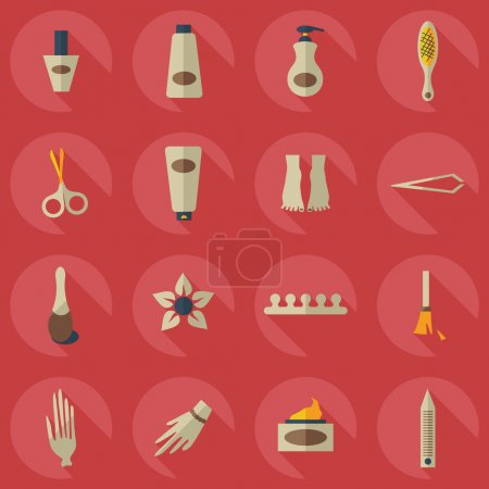 Illustration for Flat concept, set modern design with shadow manicure - Royalty Free Image
