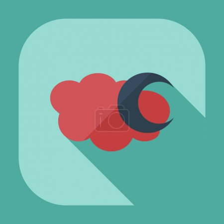 Flat modern design with shadow icons moon...