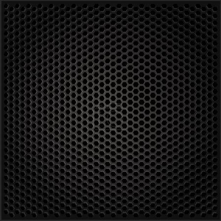 Illustration pour Fond noir carbone. Grill de musique - image libre de droit