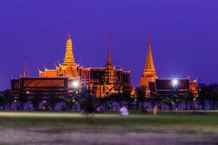 Wat Phra Kaew, Public temple at night in Bangkok, Thailand.