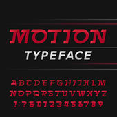 Motion alphabet vector font Speed effect letters and numbers Vector typography for logos headlines posters etc